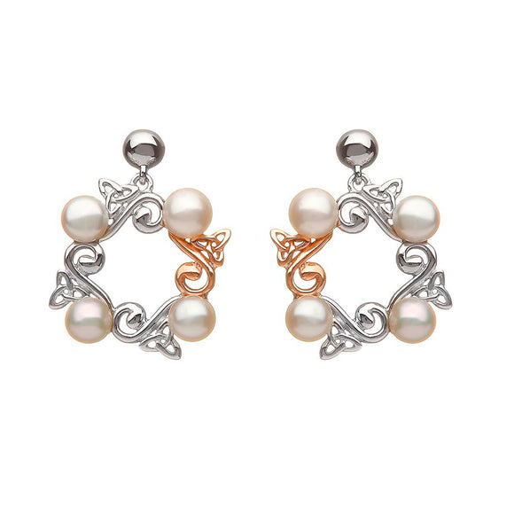 Sterling Silver and Rose Gold Celtic Pearl Earrings