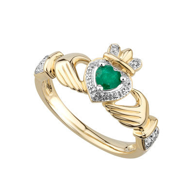 14ct Yellow Gold Emerald and Diamond Claddagh Ring