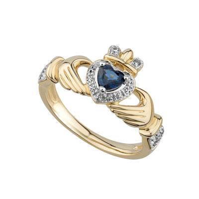 14ct Yellow Gold Sapphire and Diamond Claddagh Ring