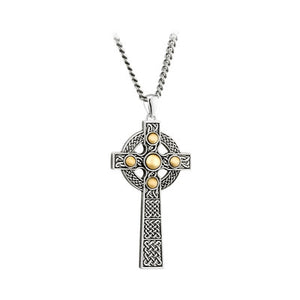Sterling Silver and 10ct Gold Large Celtic Cross