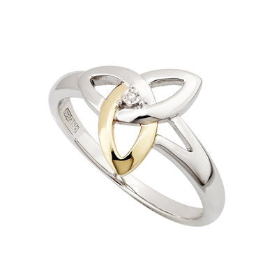 Sterling Silver and 10ct Yellow Gold Diamond Trinity Knot Ring