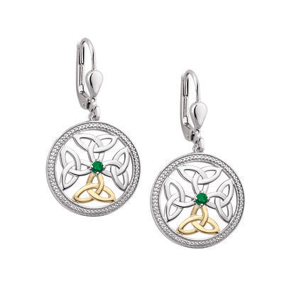 Sterling Silver and 10ct Gold Emerald Celtic Knot Earrings