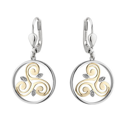 Sterling Silver and 10ct Gold Diamond Spiral Earrings