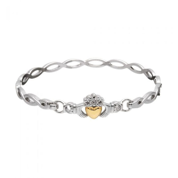 Sterling Silver Claddagh Bangle With Solid 10ct Gold Heart
