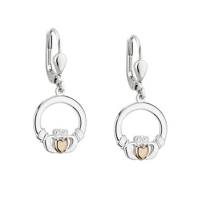 Sterling Silver Claddagh Drop Eearrings with 10ct Gold Heart