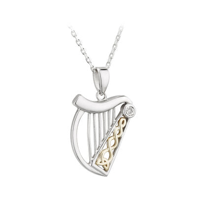 Sterling Silver and 10ct Yellow Gold Diamond Harp Pendant