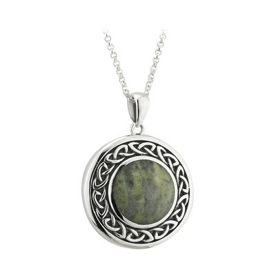 Sterling Silver Connemara Marble  Round Celtic Knot Pendant