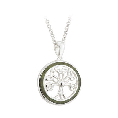 Sterling Silver Conemara Marble Tree Of Life Pendant