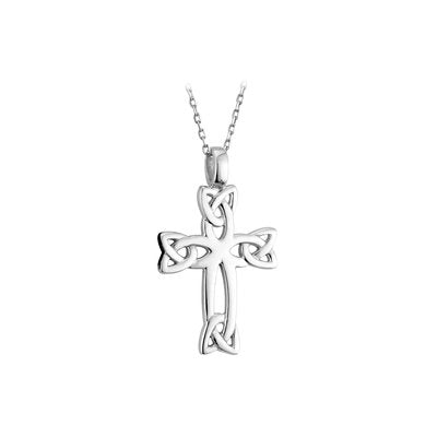Sterling Silver Celtic Cross with Celtic Knots