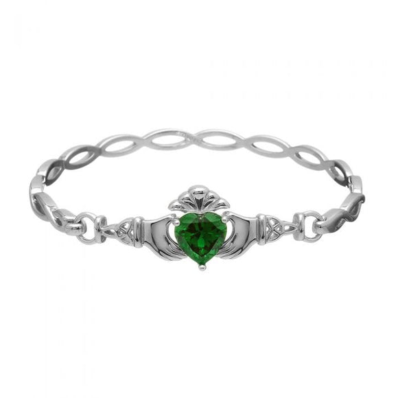 Sterling Silver Green Zirconia Claddagh Bangle