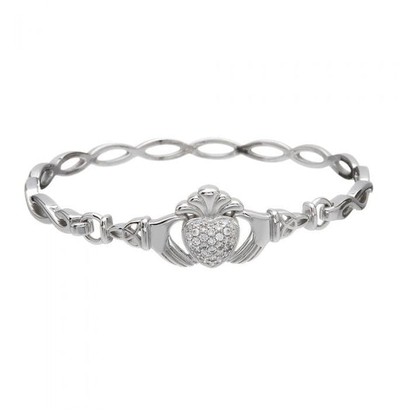 Sterling Silver Pavé Set Claddagh Bangle