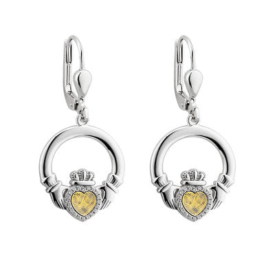 Sterling Silver Moving Gold Heart Claddagh Drop Earrings