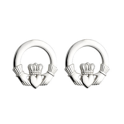 Sterling Silver Heavy Claddagh Stud Earrings