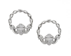 Sterling Silver Pavé Set Claddagh Stud Earrings