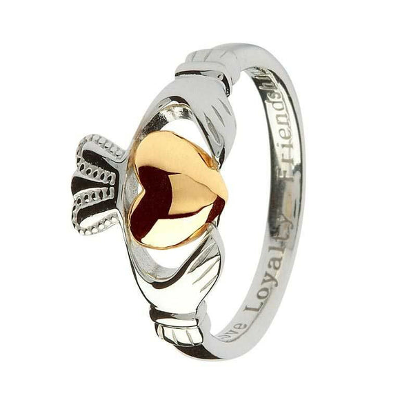 Sterling Silver Claddagh Ring with 10ct Gold Heart