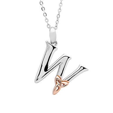 Sterling Silver Initial W Pendant With Rose Gold Plated Trinity Knot
