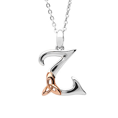 Sterling Silver Initial Z Pendant With Rose Gold Plated Trinity Knot