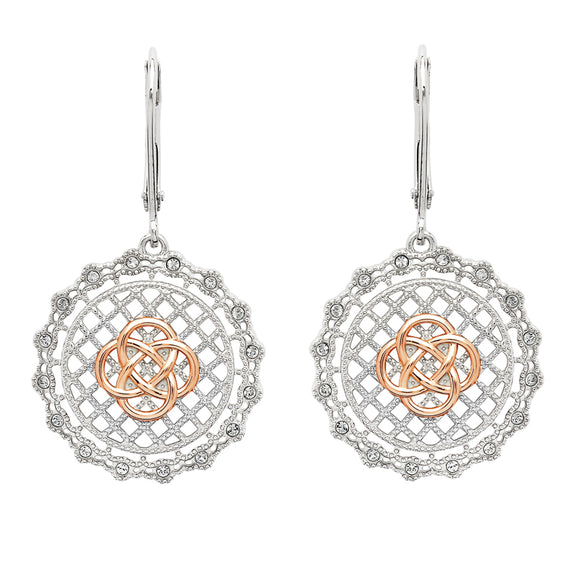 Sterling Silver Irish Lace Rose Gold Plated Celtic Knot Drop Earrings