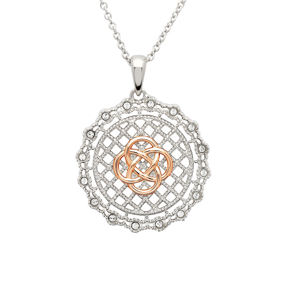 Sterling Silver Irish Lace Rose Gold Plated Celtic Knot Pendant