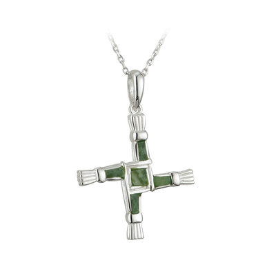 Sterling Silver Connemara Marble St. Brigids Cross