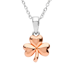 Sterling Silver Rose Gold Plated Shamrock Pendant