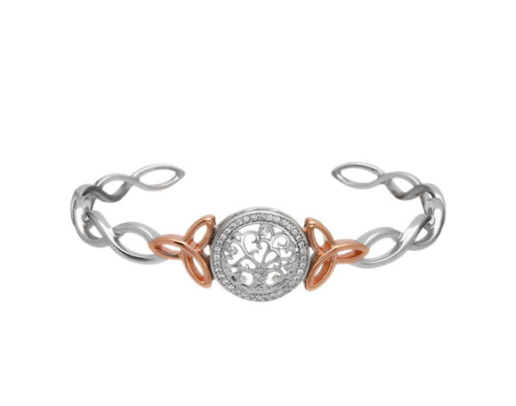 Tree Of Life Bangle with Zirconias and Rose Gold Plated Trinity Knots
