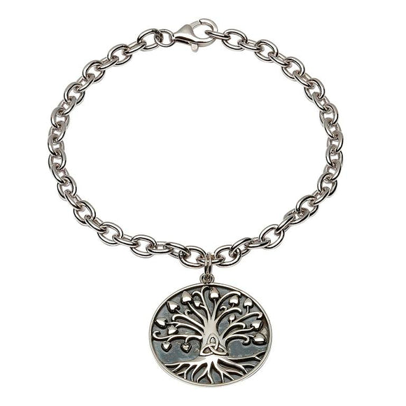 Sterling Silver Tree Of Life Trinity Bracelet
