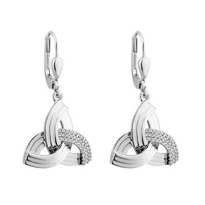 Sterling Silver Crystal Trinity Knot Drop Earrings