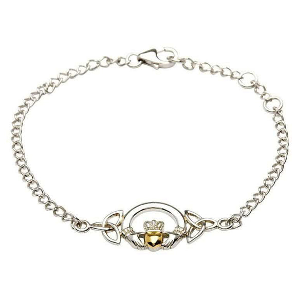 Sterling Silver Claddagh and Trinity Knot Bracelet with 14ct Gold plated Heart