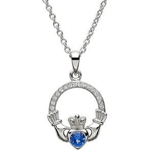 Sterling Silver Claddagh September Birthstone Pendant with Swarovski Crystals