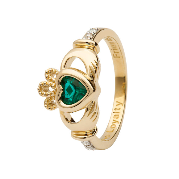 14ctYellow Gold Emerald May Birthstone Claddagh Ring