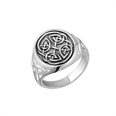 Men's Sterling Silver Oxidised Celtic Knot Signet Ring