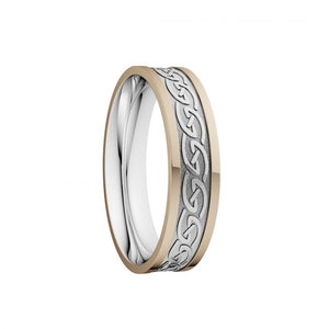 Celtic Waves Wedding Ring with Yellow Rails - Narrow