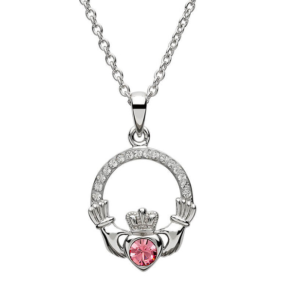 Sterling Silver Claddagh October Birthstone Pendant with Swarovski Crystals