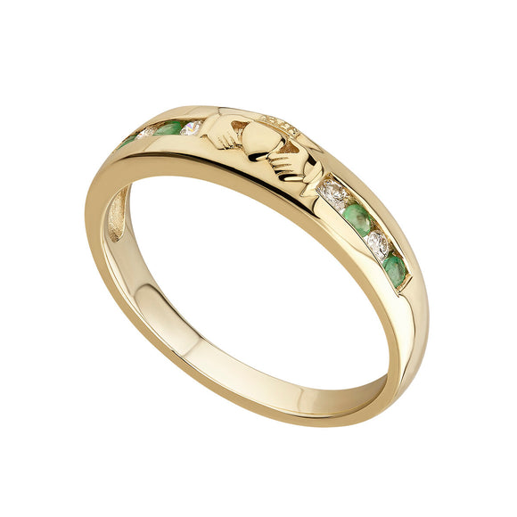 14ct Yellow Gold Diamond and Emerald Claddagh Eternity Ring