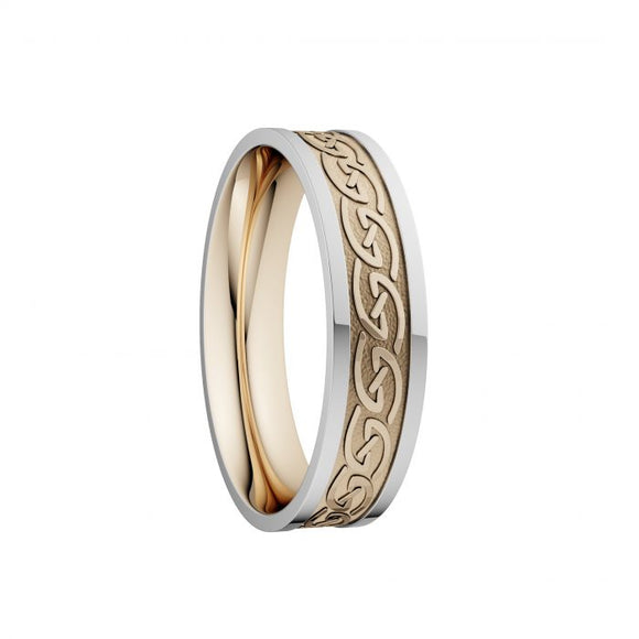 Celtic Waves Wedding Ring with White Rails - Narrow