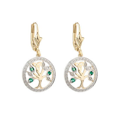 Celtic 14ct Yellow Gold Diamond and Emerald Tree of Life Earrings