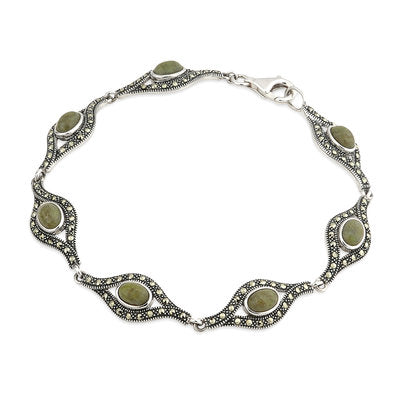 Sterling Silver Connemarra Marble and Marcasite Bracelet