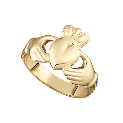 14ct Yellow Gold Hallow Back Claddagh Ring