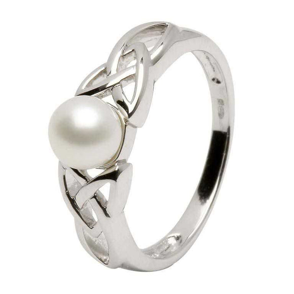 Sterling Silver Celtic Trinity Knot Pearl Ring