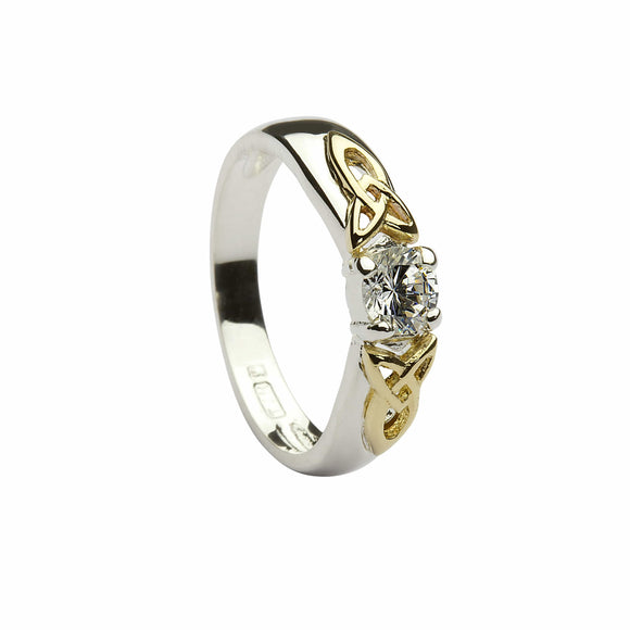 Sterling Silver and Cubic Zirconia Ring with 9ct Gold Trinity Knot Details
