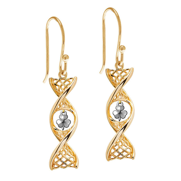 14ct Gold Celtic DNA Shamrock Drop Earrings