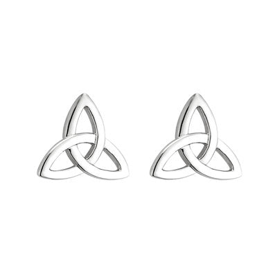 14ct White Gold Trinity Knot Stud Earringss