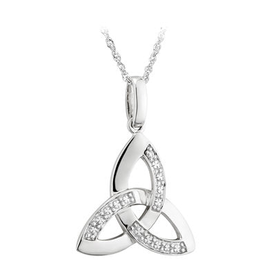 14ct White Gold Diamond Celtic Trinity Knot Pendant