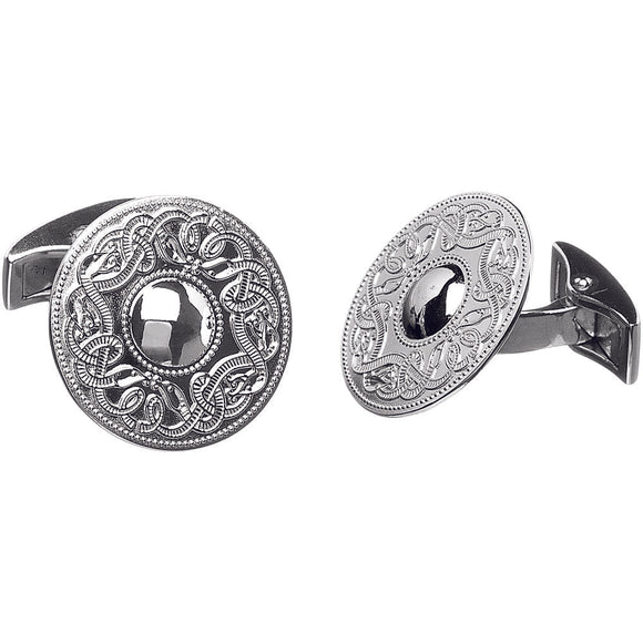 Sterling Silver Celtic Warrior Cufflinks - Medium