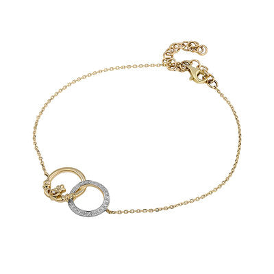 14ct Gold Diamond Claddagh Circle Bracelet