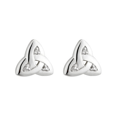14ct White Gold Diamond Trinity Knot Stud Earrings