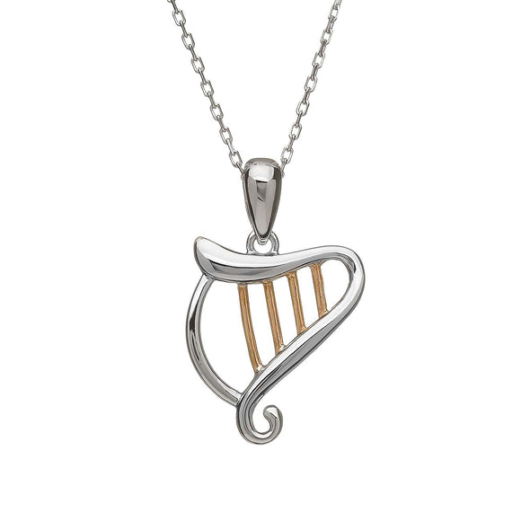 Sterling Silver and Rose Gold Celtic Harp Pendant