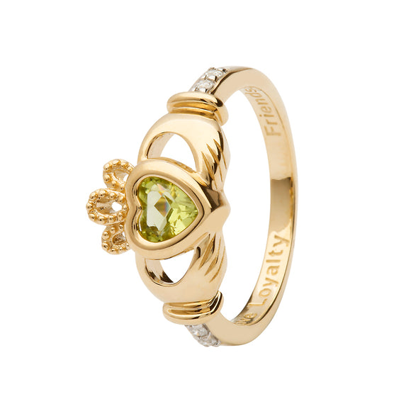 14ct Yellow Gold Peridot August Birthstone Claddagh Ring