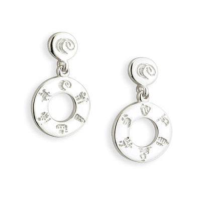 Sterling Silver History of Ireland Doughnut Earrings